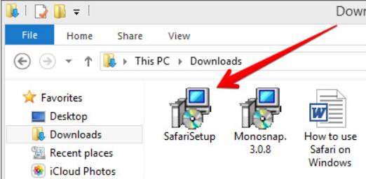 Installa Safari dal file di installazione